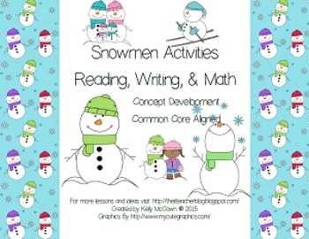 Snowmen Reading, Writing, and Math Activities BUNDLE