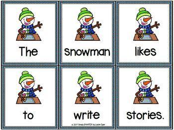 Snowmen Scramble Sentences:  LOW PREP Snowman Themed Sentence Building Activity