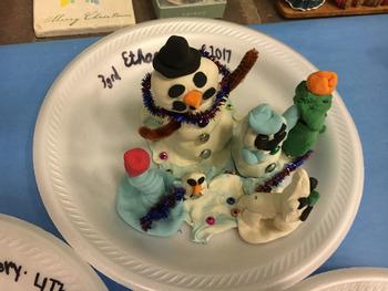 Snowmen Sculpture Marshmallow Model Magic Clay FUN Winter Art Lesson Plan