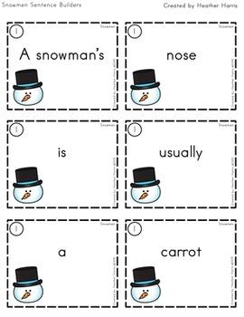 Snowmen Sentence Builders