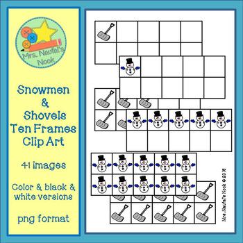 Ten Frames Clip Art - Snowmen and Shovels