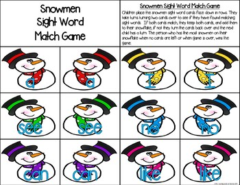 Snowmen Sight Word Match Game