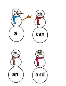 Snowmen Sight Words Freebie