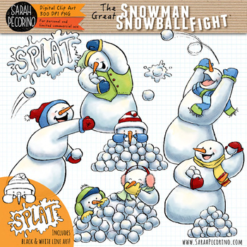 Snowmen Snowball Fight Clip Art