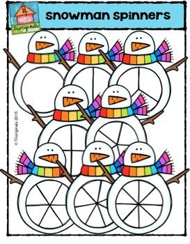 Snowmen Spinners {P4 Clips Trioriginals Digital Clip Art}