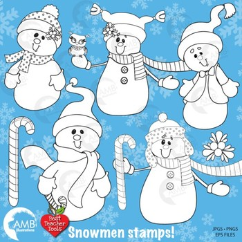Clipart Stamps, Christmas Snowmen Blackline outlines AMB-190