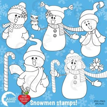 Christmas Digital Stamps Clipart, Christmas Snowmen Black line Outlines, AMB-190