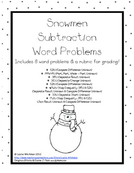 Snowmen Subtraction Word Problems