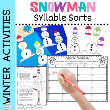 Syllable Sort Snowmen Literacy Center Activity,Game & Worksheet for 1st Grade