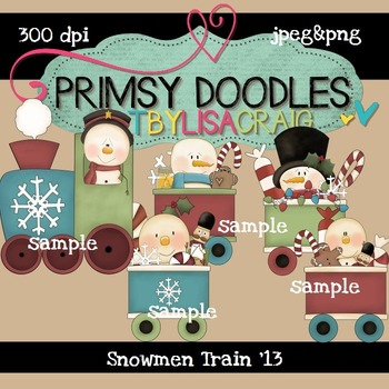 Snowmen Train 300 dpi Clipart
