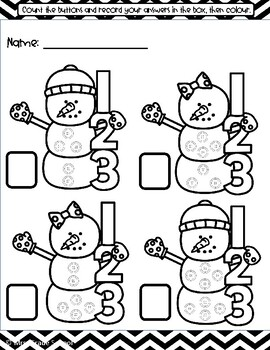 Snowmen Winter Counting Activity - Worksheet (PRIMARY)