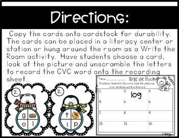 Snowmen Write the Room~ Unscramble and Record CVC Words