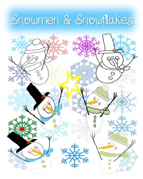Snowmen and Snowflakes Clip Art