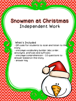 Snowmen at Christmas Independent Work