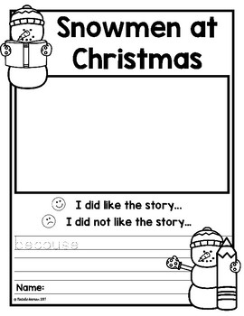 Snowmen at Christmas - Opinion Writing Freebie