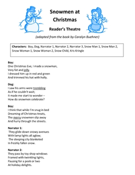 Snowmen at Christmas Reader's Theatre