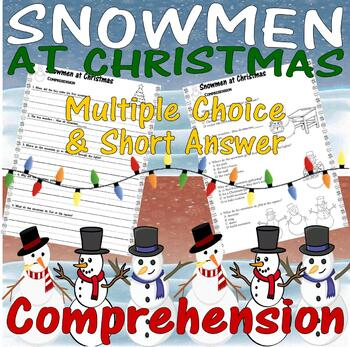 snowmen at christmas reading comprehension multiple choice questions