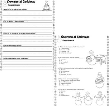Snowmen at Christmas : Reading Comprehension : Multiple Choice Questions