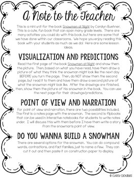 Snowmen at Night- A Mini Literacy Pack