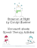 Snowmen at Night Homework/Therapy Activities