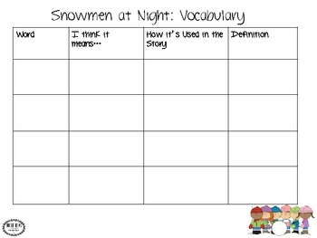 snowmen at night language activities by whitney palyu bright ideas slp. Black Bedroom Furniture Sets. Home Design Ideas