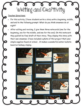 Snowmen at Night Literature Reading and Writing Unit
