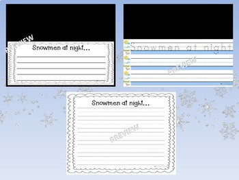 Snowmen at Night NO PREP differentiated writing paper templates - K 1st 2nd