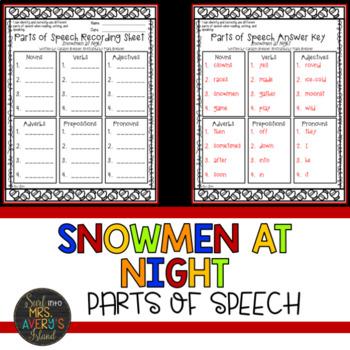 Snowmen at Night Parts of Speech Book Companion