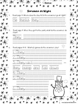 Snowmen at Night: Text-Dependent Questions and More!