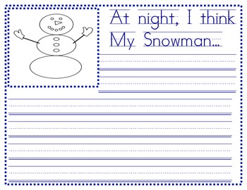 Snowmen at Night Writing Paper