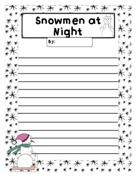 Snowmen at Night graphic organizer and writing templates
