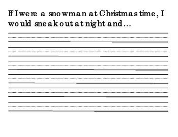 Snowmen at Night writing template