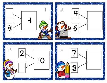 Snowmen at School Number Bonds Task Cards