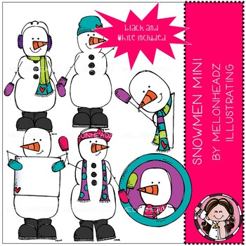 Snowmen clip art - Mini - Melonheadz Clipart