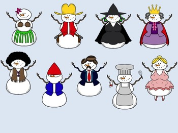 Snowmen in Disguise Clip Art Set