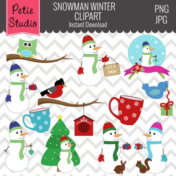 Snowmen with Hats and Scarves // Snowman Clipart // Hot Co