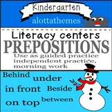 Snowmen with positional words for literacy centers