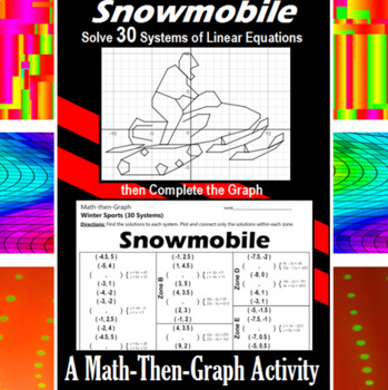 Snowmobile - A Math-Then-Graph Activity - Solve 30 Systems