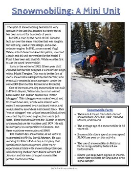 Snowmobiling Mini Unit NO PRINT Middle High School Lesson