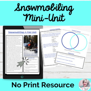 Snowmobiling Mini Unit NO PRINT Middle High School Lesson