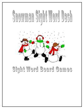 Snowman Sight Word Dash (Sight Word Board Games)