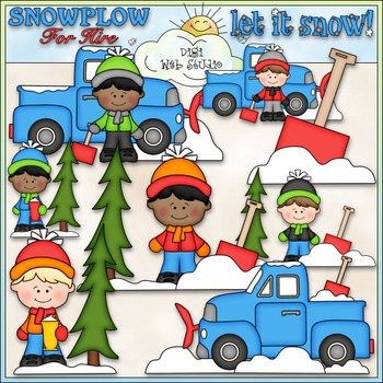 Snowplow For Hire Clip Art - Snowplow Clip Art - Winter - CU Clip Art & B&W