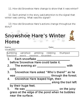 Snowshoe Hare's Winter Home Comprehension and Vocabulary