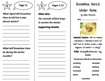 Snowshoe Hare's Winter Home Trifold - ReadyGen 2016 2nd Grade Unit 1 Module A
