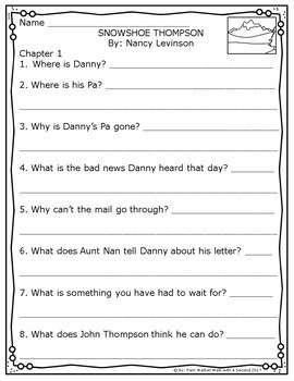 Snowshoe Thompson Book Companion for Guided Reading