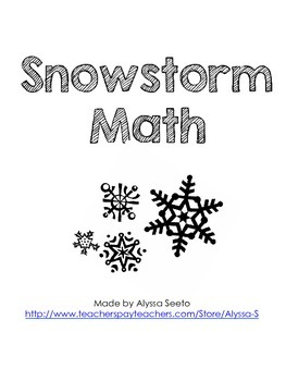 Snowstorm Math Center freebie