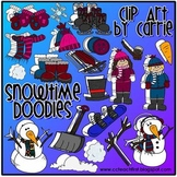 Snowtime Doodles clip art (BW and full-color PNG files)
