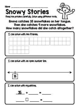 Snowy Addition and Subtraction Story Problem Worksheets