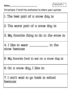 Snowy Day Packet- Kindergarten Skill Review