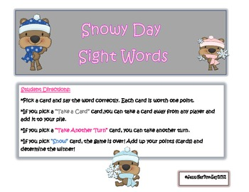 Snowy Day Sight Words Game
